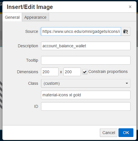 Insert/Edit Image Panel