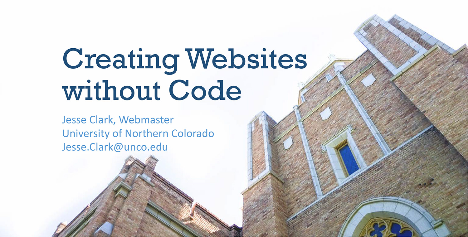 Creating Websites without Code Sldie 1