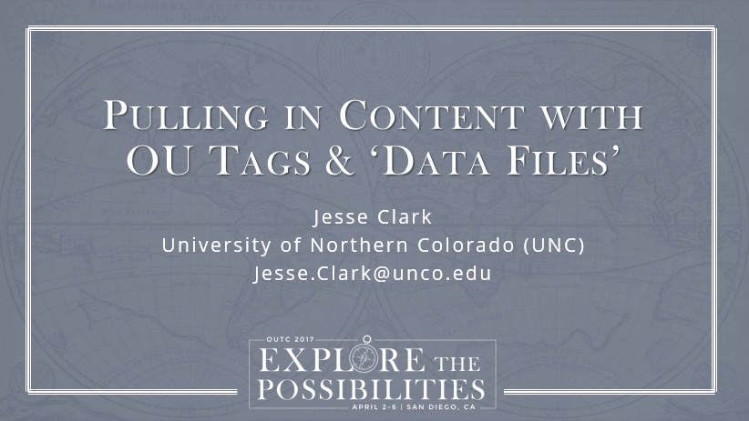 Pulling in COntent With OU Tags & Data Files Slide 1