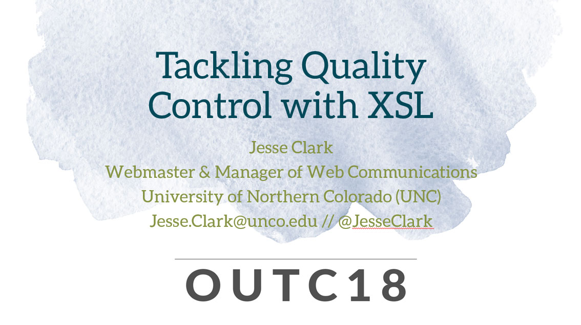 Tackling Quality Control with XSL first slide